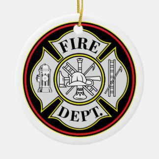 Insignia redonda del cuerpo de bomberos adorno navideño redondo de cerámica