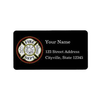 Insignia redonda del cuerpo de bomberos etiquetas de dirección