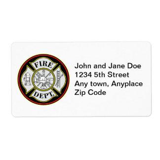Insignia redonda del cuerpo de bomberos etiquetas de envío
