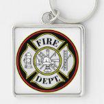 Insignia redonda del cuerpo de bomberos llavero personalizado