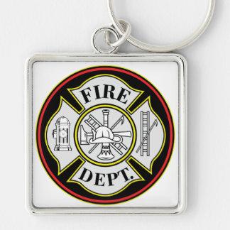 Insignia redonda del cuerpo de bomberos llavero cuadrado plateado