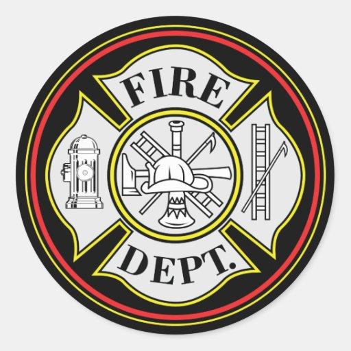 Insignia redonda del cuerpo de bomberos etiqueta redonda