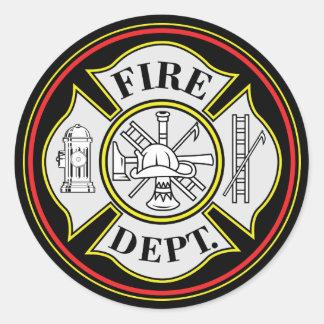 Insignia redonda del cuerpo de bomberos pegatina redonda