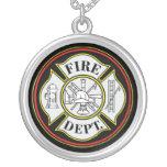Insignia redonda del cuerpo de bomberos pendiente
