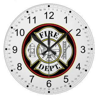 Insignia redonda del cuerpo de bomberos reloj redondo grande