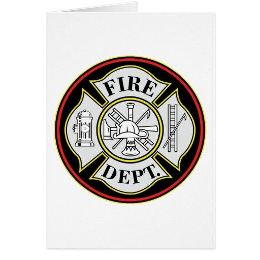 Insignia redonda del cuerpo de bomberos felicitación