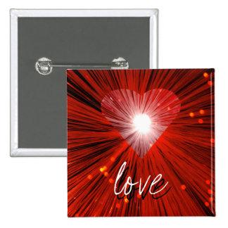 """Insignia roja del botón del """"amor"""" del corazón pin cuadrado"""