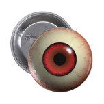 Insignia roja del globo del ojo del zombi pin redondo de 2 pulgadas