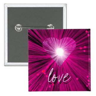 """Insignia rosada del botón del """"amor"""" del corazón pin cuadrado"""