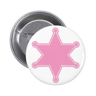 Insignia rosada del sheriff - diseñe su propio bot pin redondo 5 cm