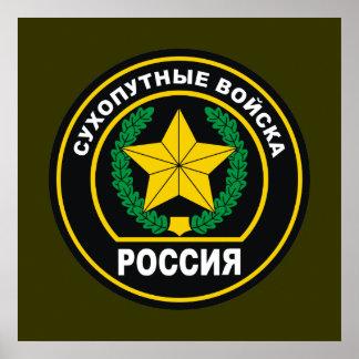 Insignia rusa de las fuerzas de tierra póster
