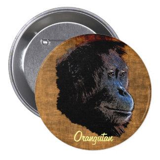 Insignia salvaje del arte del primate de los pin redondo de 3 pulgadas