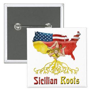 Insignia siciliana americana del Pin de las raíces Pin Cuadrada 5 Cm
