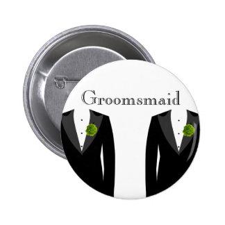 Insignia verde de Groomsmaid del clavel para un Pin Redondo De 2 Pulgadas