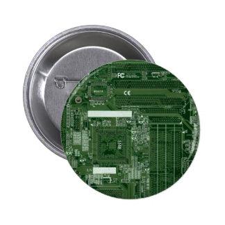 Insignia verde de la placa de circuito pin redondo de 2 pulgadas
