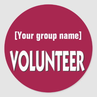 Insignia voluntaria del personalizado pegatina redonda