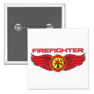 Insignia y alas del bombero pin cuadrado