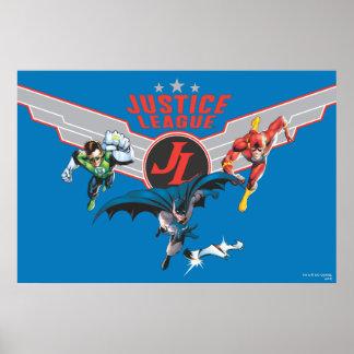Insignia y héroes del aire del vuelo de la liga de póster