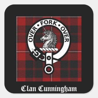 Insignia y tartán de Cunningham del clan Pegatina Cuadradas Personalizada