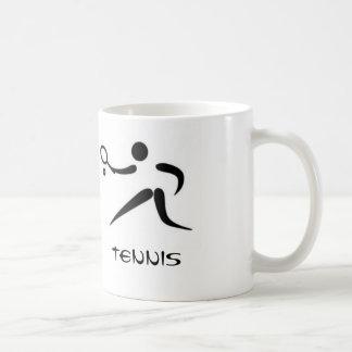 Insignias abstractas del tenis en la taza
