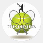 Insignias agradables del tenis pegatina redonda