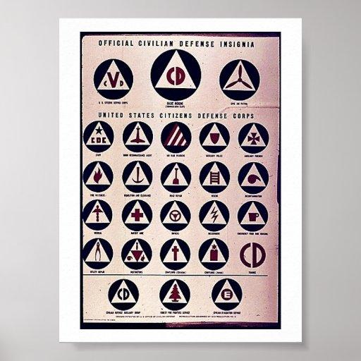 Insignias civiles oficiales de la defensa poster