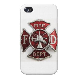 """insignias del departamento del fuego del """"esmalte"""" iPhone 4 funda"""