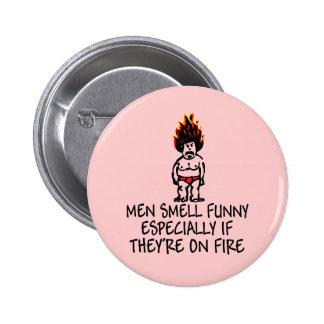 Insignias divertidas del lema del olor de los homb pins