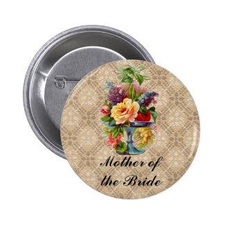 Insignias grabadas en relieve florales del botón d pin redondo de 2 pulgadas