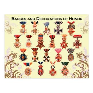 Insignias y decoraciones del honor tarjeta postal