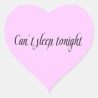 INSOMNIA CAN'T SLEEP TONIGHT EXPRESSIONS FRUSTRATI HEART STICKER