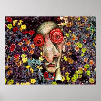 Insomniac Smells the Flowers Print