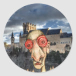 Insomniac Visits Alcazar-of-Segovia Round Sticker