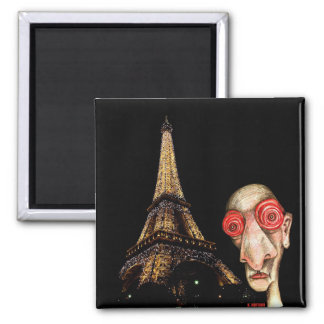 Insomniac Visits The Eiffel Tower 2 Inch Square Magnet