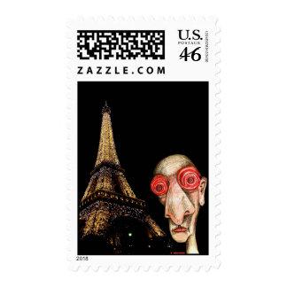 Insomniac Visits The Eiffel Tower Postage