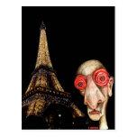 Insomniac Visits The Eiffel Tower Postcard