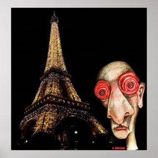 Insomniac Visits The Eiffel Tower Print