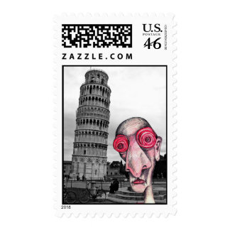 """Insomniac Visits """"The Leaning Tower of Pisa"""" Stamp"""