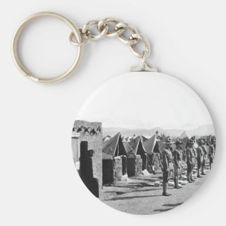 Inspecting packs, Co. M, 16th Infty_War Image Basic Round Button Keychain