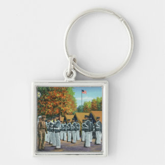 Inspection in Camp, Soldiers in Formation Silver-Colored Square Keychain