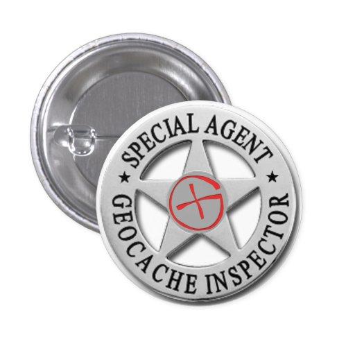 Inspector Agent* *Special w/logo de Geocache Pin Redondo 2,5 Cm