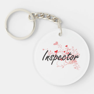 Inspector Artistic Job Design with Hearts Single-Sided Round Acrylic Keychain