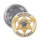 Inspector de Geocache - piel, hallazgo, insignia d Pin Redondo De 1 Pulgada
