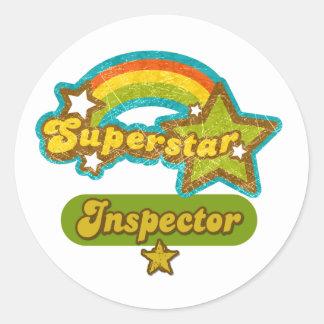 Inspector de la superestrella pegatina redonda