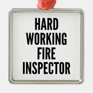 Inspector de trabajo duro del fuego adorno navideño cuadrado de metal