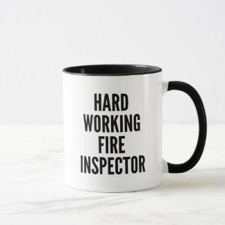 Inspector de trabajo duro del fuego taza