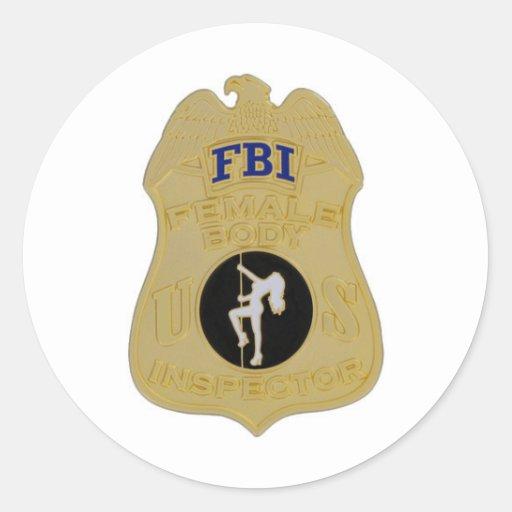 inspector del cuerpo femenino del fbi pegatina redonda