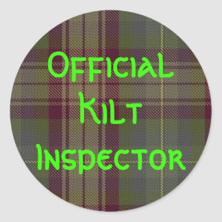 """Inspector oficial de la falda escocesa "" Pegatina Redonda"