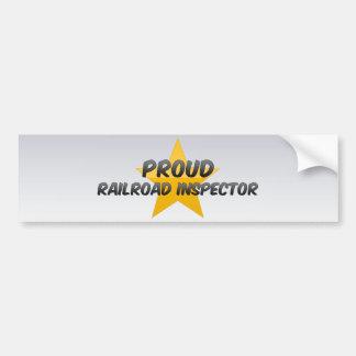 Inspector orgulloso del ferrocarril etiqueta de parachoque