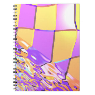 Inspectores amarillos púrpuras ondulados libros de apuntes con espiral